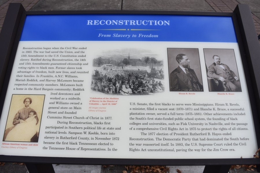 The city of Franklin erected markers with information about African American history in 2019. (Alex Hosey/Community Impact newspaper)