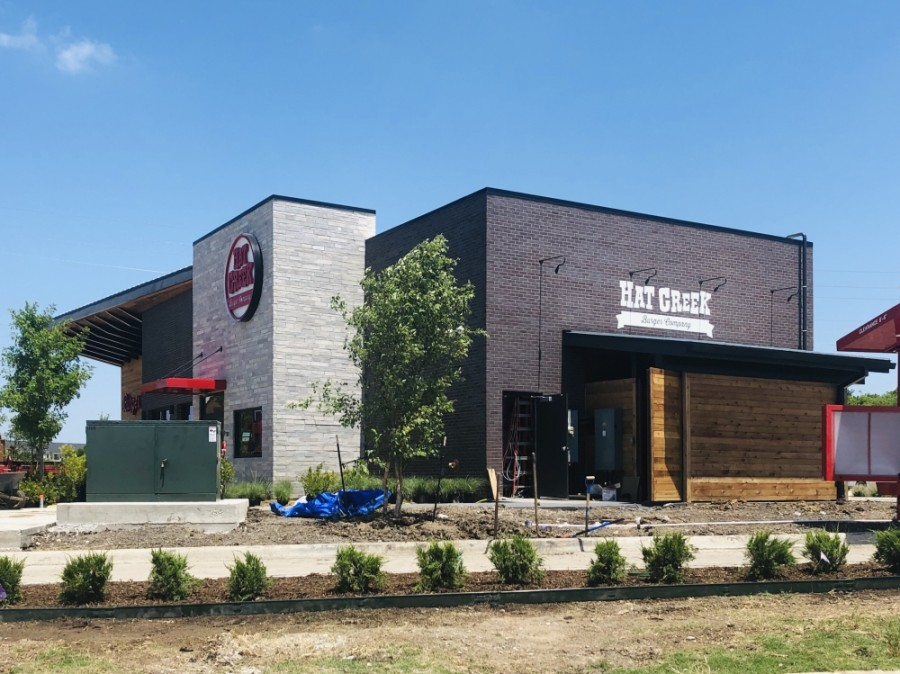 Hat Creek Burger Co. is expected to open in July near the intersection of Golden Triangle Boulevard and Park Vista Boulevard. (Ian Pribanic/Community Impact Newspaper)