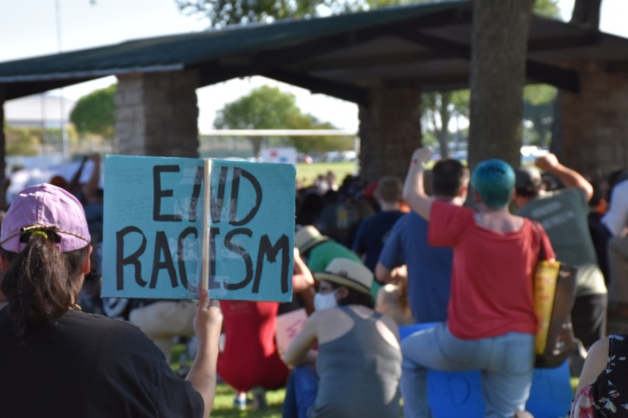 The point of the gathering was to protest systemic racism against black people, organizer Isabela Marcano said. (Makenzie Plusnick/Community Impact Newspaper)