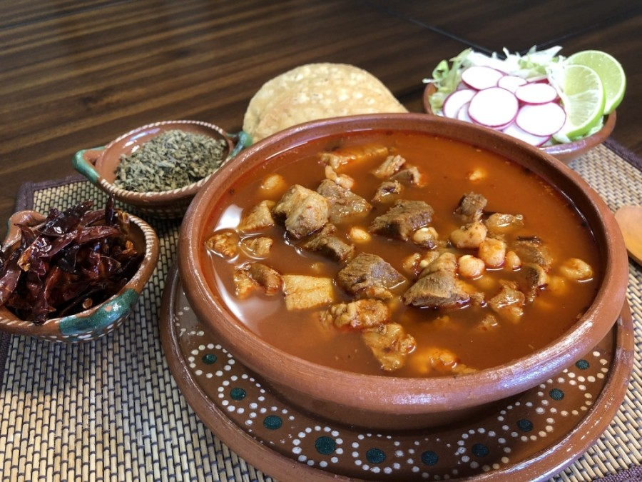 An Aztec-inspired Mexican restaurant and a Peruvian-Mexican hybrid restaurant are among the tenants to lease space at the center. (Courtesy Mexpozole Restaurant)