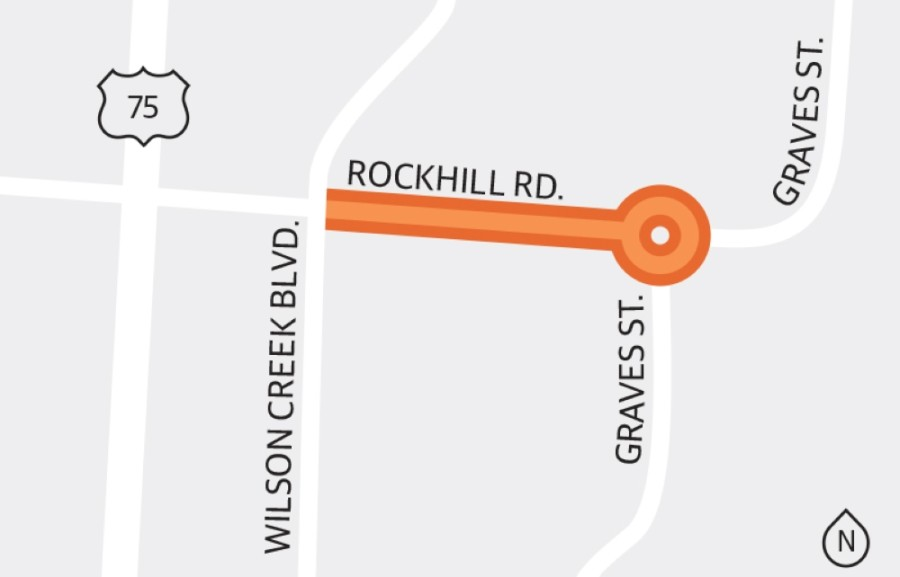 Following approval by McKinney City Council, construction of a mini-roundabout with lighting and pedestrian enhancements was expected to begin in late May at the intersection of Rockhill Road and Graves Street, officials said. (Graphic by Michelle Degard/Community Impact Newspaper)