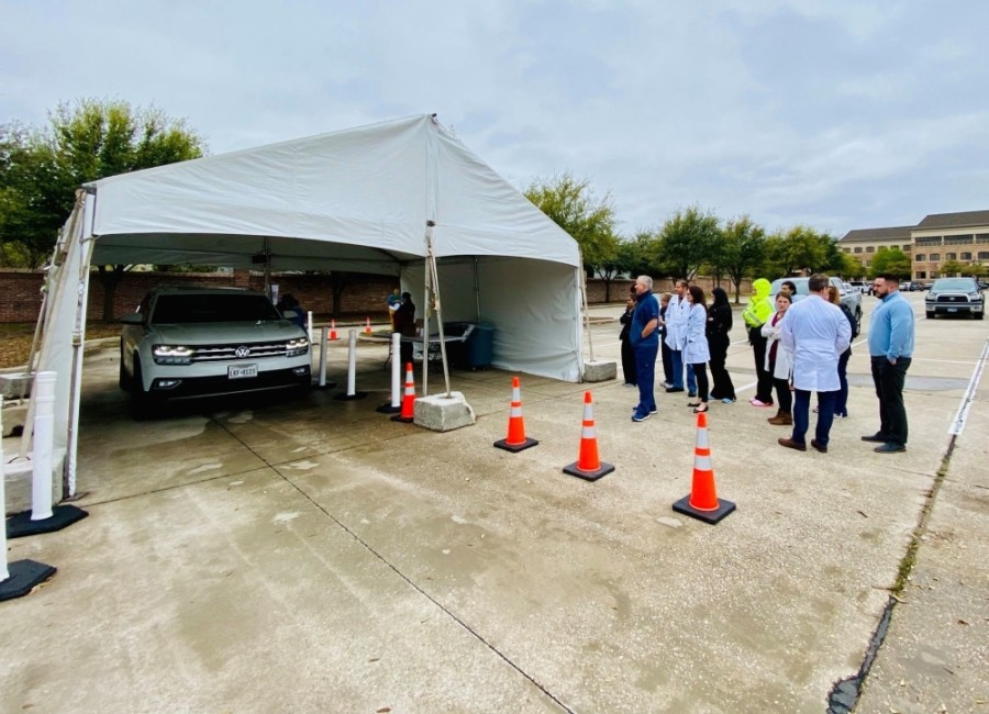 At Frisco Concierge Medicine, Dr. Bryan M. Lowery helped set up a drive-thru COVID-19 testing tent at Baylor Scott & White Medical Center-Frisco on March 17. (Courtesy Frisco Concierge Medicine)