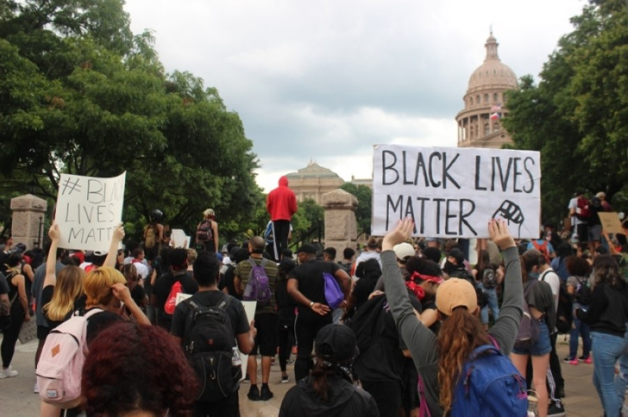 Protesters march from the state Capitol in downtown Austin on May 31. (Christopher Neely/Community Impact Newspaper)