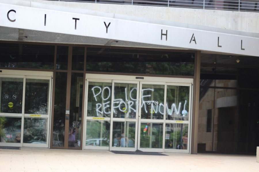 Austin City Hall was one of several downtown buildings to get vandalized. (Christopher Neely/Community Impact Newspaper)