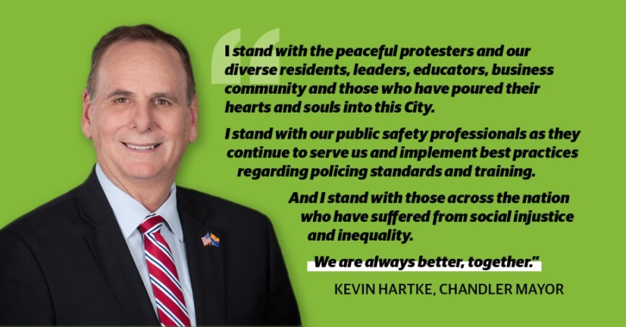 Chandler Mayor Kevin Hartke released a statement June 5 on the death of George Floyd and the subsequent protests that have occurred. (Community Impact Newspaper staff)