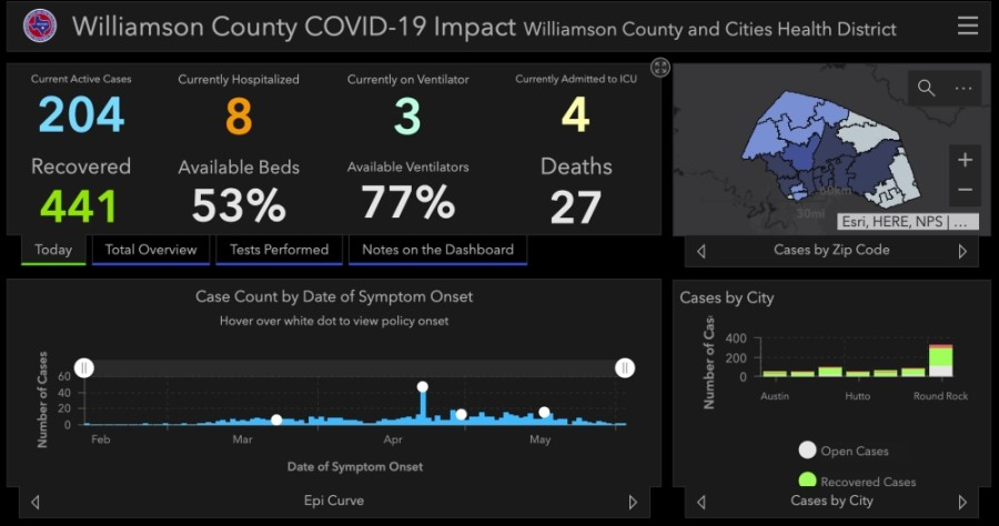 Williamson County and Cities Health District reported 12 additional cases of coronavirus June 5, bringing the county total to 672. (Screenshot courtesy Williamson County)