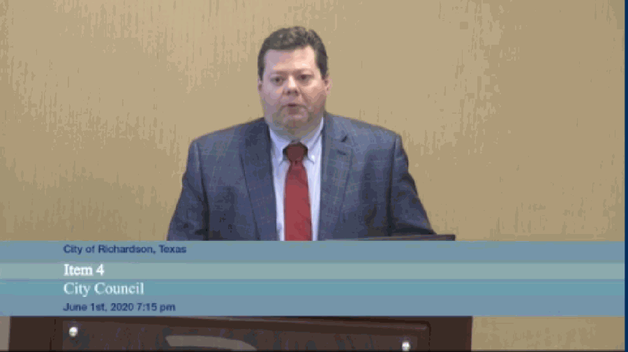 Finance Director Keith Dagen presented the citywide preliminary value estimates at the June 1 council meeting. (Courtesy Citizens Information Television)