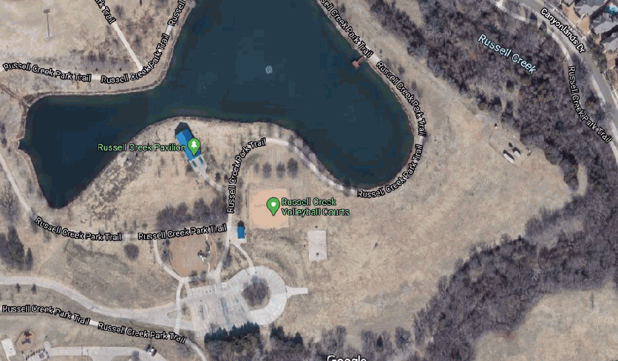 The playground, volleyball courts and basketball court at Plano's Russell Creek Park are expected to undergo a significant renovation later this year. (Screenshot from Google Maps)