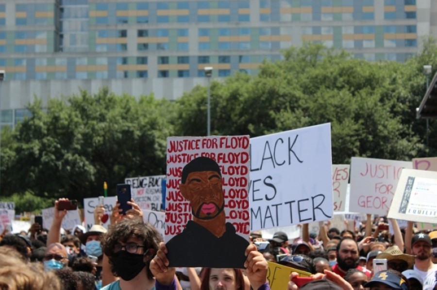 About 60,000 people gathered in downtown Houston at a June 2 march to to honor George Floyd. Some Friendswood ISD alumni are holding a march on June 6. (Adriana Rezal/Community Impact Newspaper)