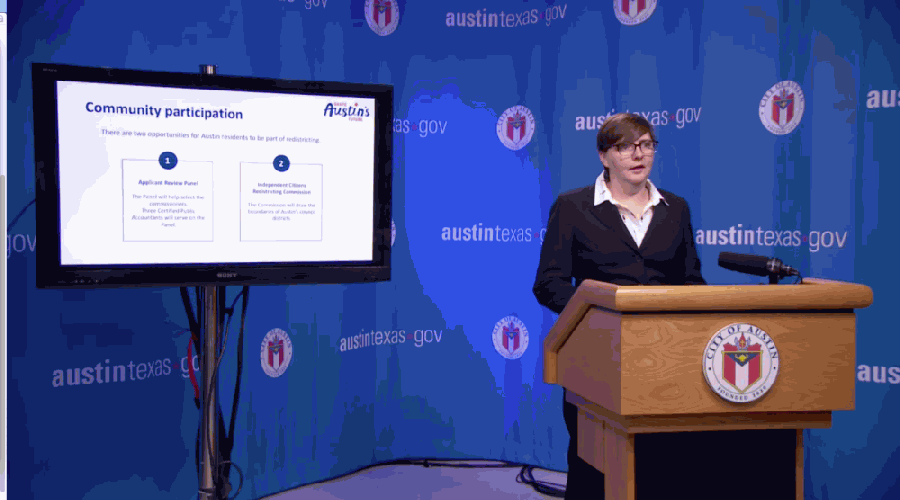 Austin City Auditor Corrie Stokes answered questions about the city's process to redraw its ten City Council districts on June 8 in a virtual media conference. (Courtesy ATXN)