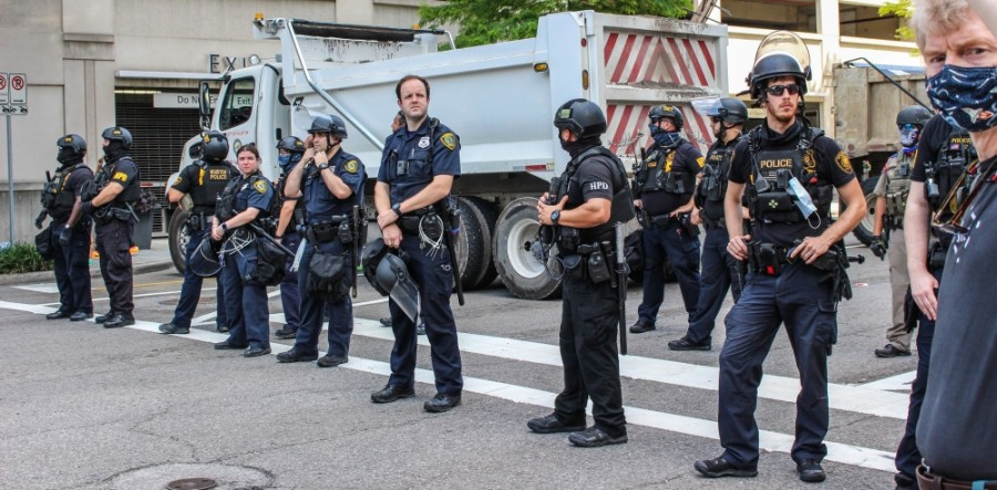 Houston police officers were deployed around the downtown area during the June 2 Black Lives Matter march. (Nola Z. Valente/Community Impact Newspaper)