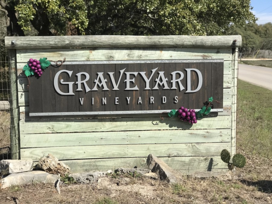 A photo of the Graveyard Vineyards sign