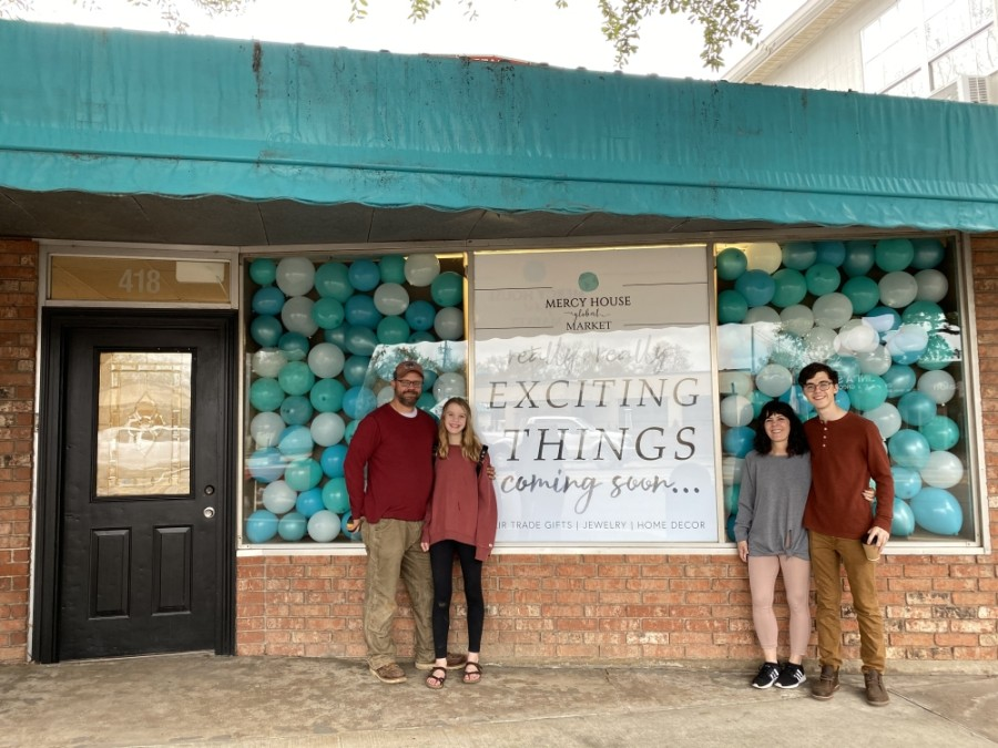 Mercy House Global is a nonprofit organization founded by Kristen Welch (second from right). Welch and her family are preparing to open a Tomball retail location in June. (Courtesy Mercy House Global)
