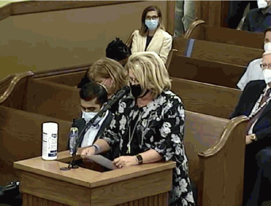 Woman at podium at county meeting