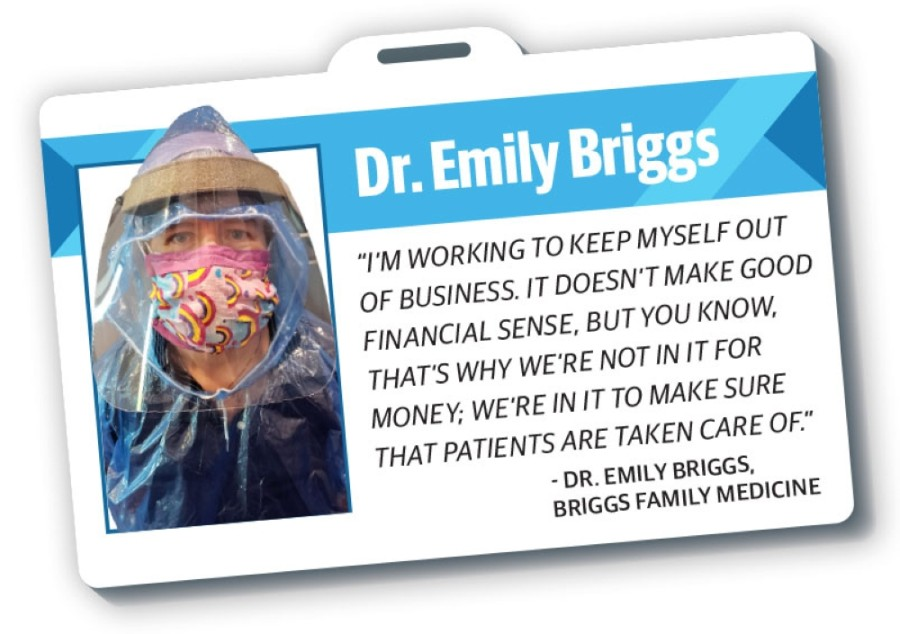 Dr. Emily Briggs wears improvised personal protective equipment to protect herself from the coronavirus. (Photo courtesy Briggs Family Medicine/Community Impact Newspaper)