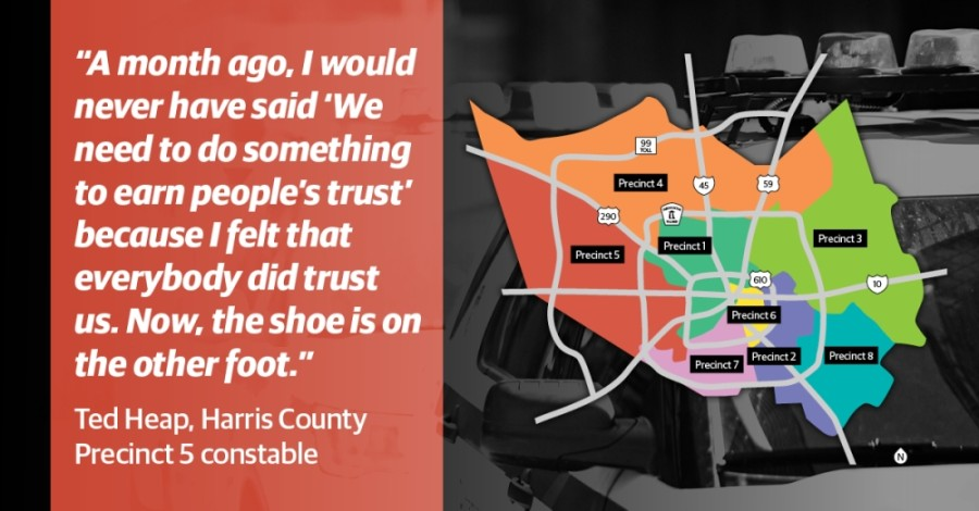 As protests over George Floyd's death continue throughout the country and protesters continue to call for criminal justice reform, Harris County constables said they hope the public has not lost faith in their officers. (Graphic by Ronald Winters/Community Impact Newspaper)