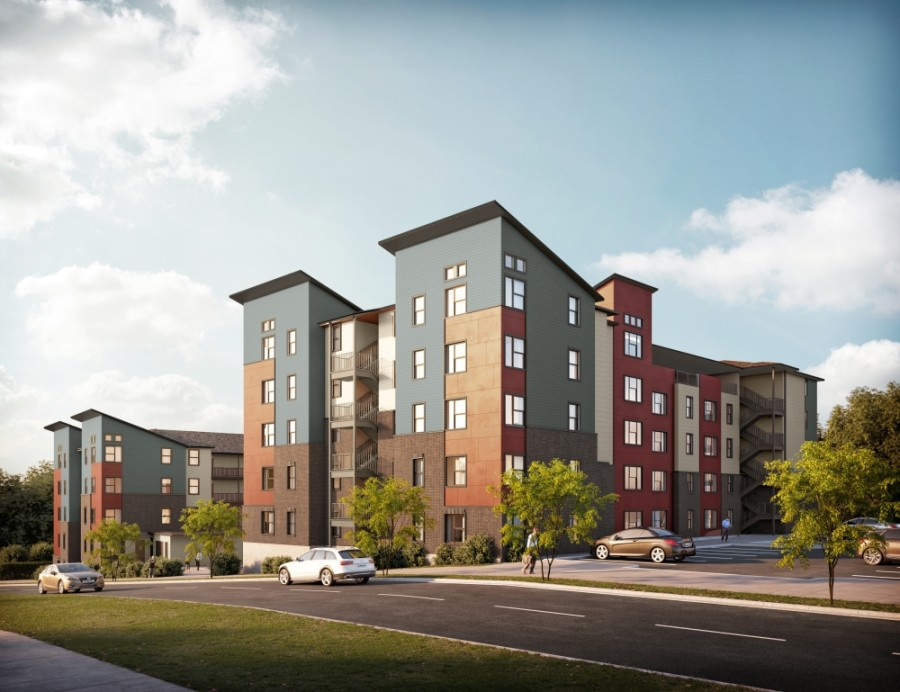 Vi Collina, a new affordable housing complex, will be coming to East Oltorf Street in 2021. (Rendering courtesy Saigebrook Development and O-SDA Industries)