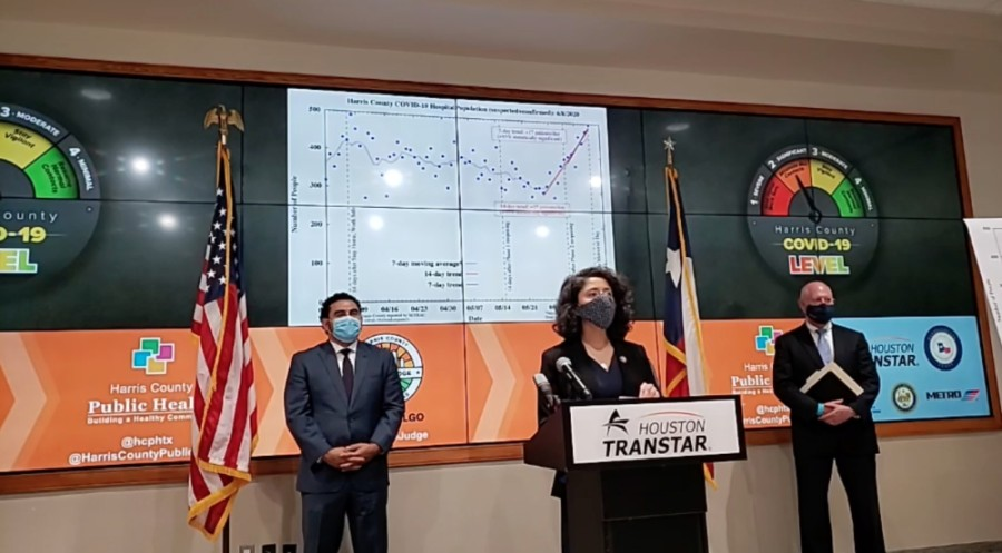 Harris County Judge Lina Hidalgo delivers remarks at a June 11 press conference on a new threat-level system for COVID-19. Hidalgo speaks in front of a graph showing an uptick in patients being hospitalized for COVID-19 over the past two weeks. (Screenshot courtesy Ready Harris)