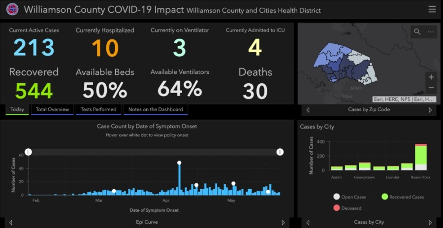 Williamson County saw 24 additional cases of coronavirus and an additional death June 11. (Screenshot courtesy Williamson County)