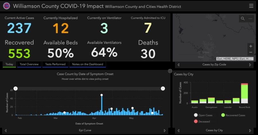 Williamson County reported 820 total confirmed cases of coronavirus June 12. (Screenshot courtesy Williamson County)