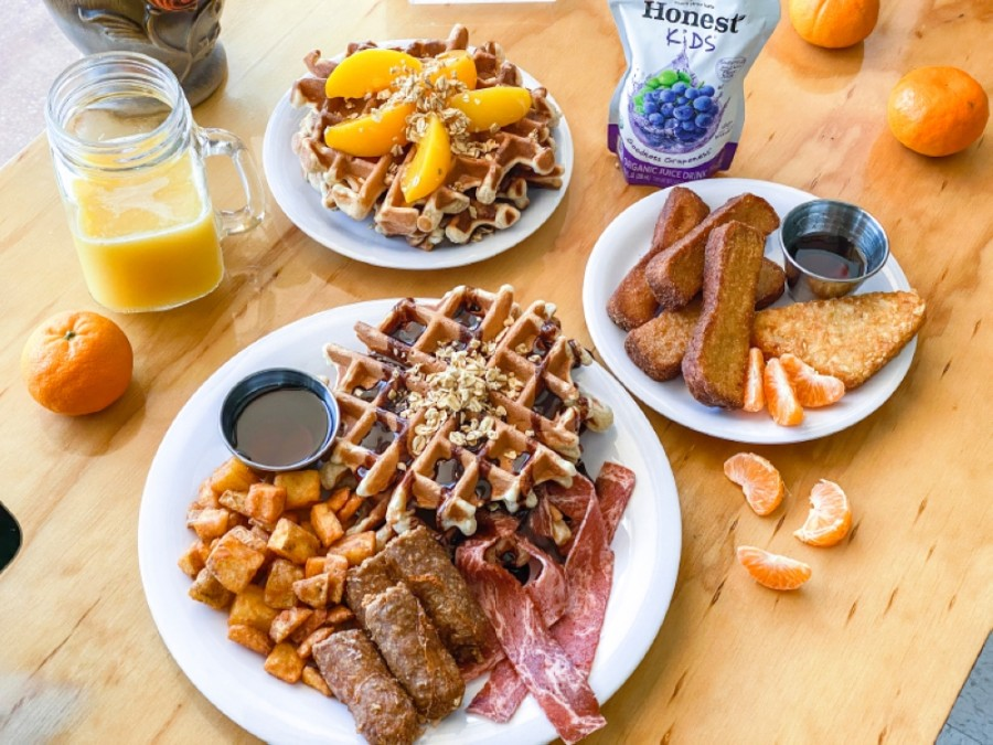 The vegan restaurant will feature a breakfast menu, including waffles and French toast sticks, once its dining room reopens. (Courtesy Binge Kitchen)