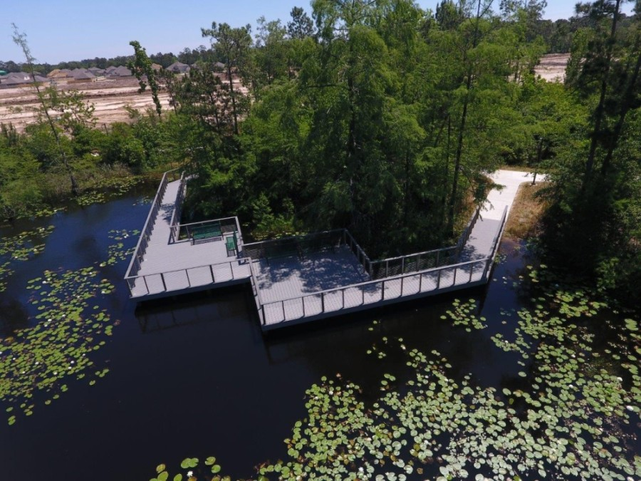 The new Atascocita Park features a boardwalk overlooking a 2-acre natural lake. (Courtesy Harris County Precinct 2)