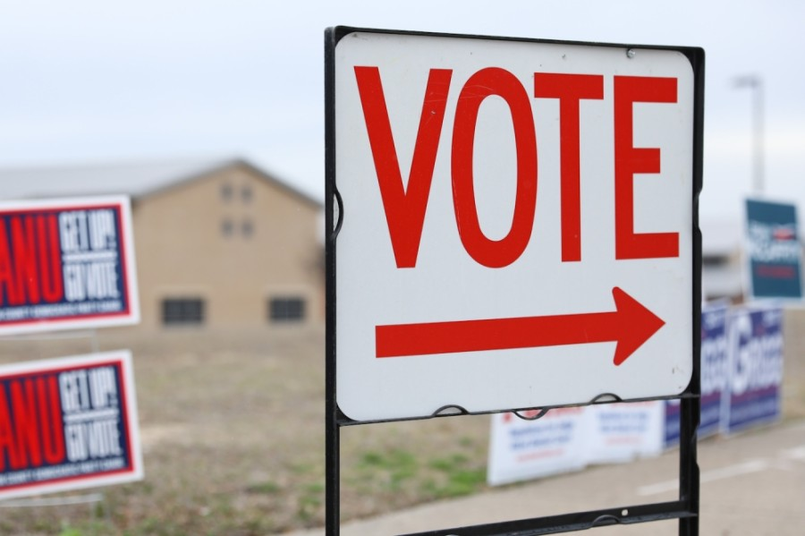Sign that says vote