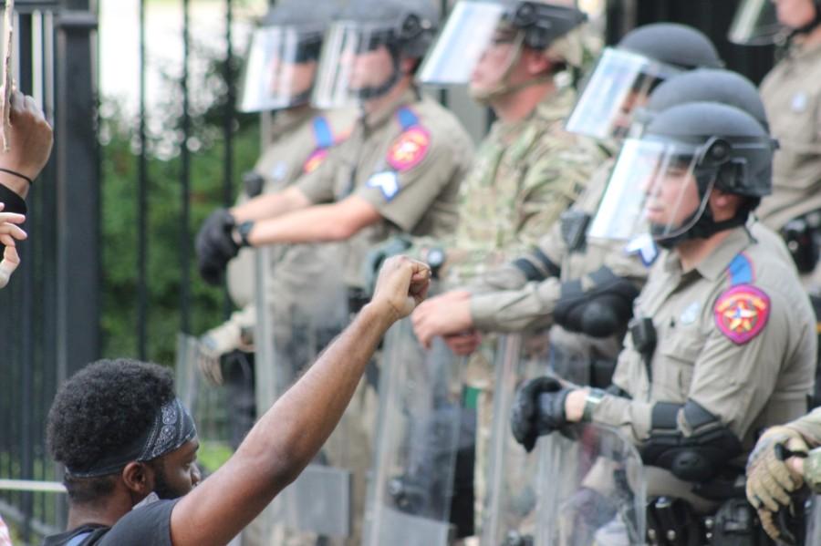 Police line at Austin protests in June