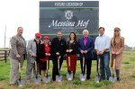 From left: Harvest Green General Manager Jerry Ulke; Messina Hof founders Paul and Merrill Bonarrigo; current owners Paul M. and Karen Bonarrigo; Doug Goff with Johnson Development, the developer of Harvest Green; Harvest Green Development Manager David Hogue; and Harvest Green Marketing Director Haley Peck were in attendance at the ceremonial groundbreaking of the Messina Hof Harvest Green Winery and Kitchen. (Courtesy Messina Hof)