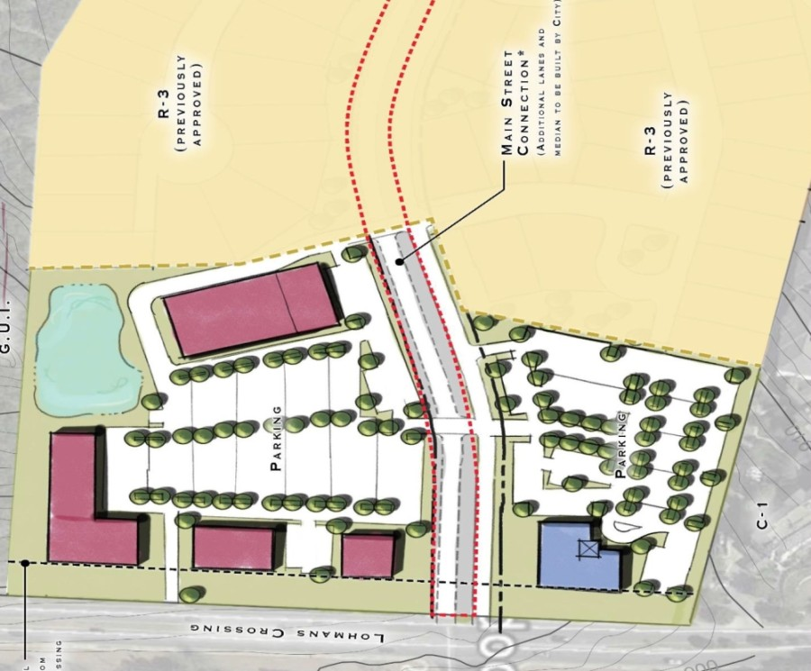Eleven acres of land running along Lohmans Crossing in Lakeway were rezoned to office/retail status during the June 15 City Council meeting. (Screenshot courtesy city of Lakeway)