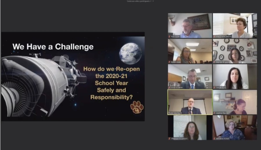 A screen shot from the virtual meeting of the Dripping Springs ISD board of trustees