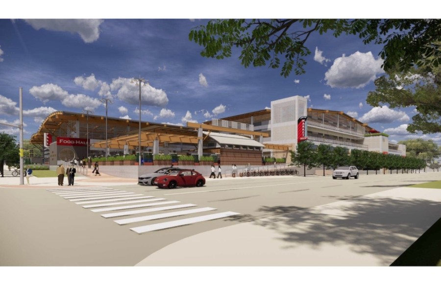 H-E-B pushed back the timeline of a reconstruction project at its store located on the corner of South Congress Avenue and Oltorf Street. (Rendering courtesy H-E-B)