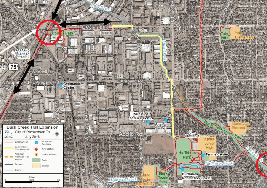 Yellow lines on this map mark the Duck Creek Trail extension. Key connections into Garland and Plano are circled in red. (Courtesy city of Richardson)