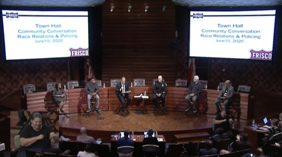 City, community and religious leaders made up a six-person panel at a Frisco town hall on race relations and policing June 15. (Courtesy city of Frisco)