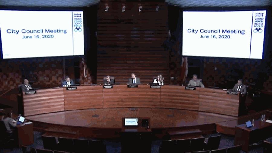 City council members at dais