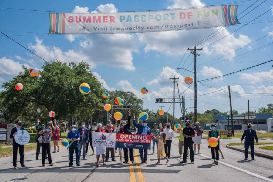 League City celebrated the city's reopening for business, and launched its Summer of Fun Passport for residents and visitors, June 17. (Courtesy city of League City)