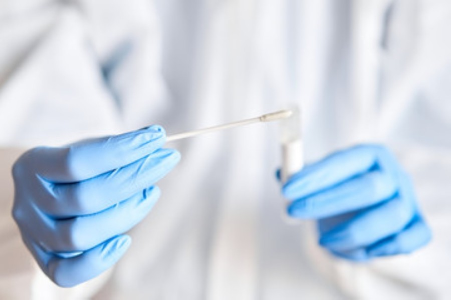 pair of gloved hands holding swab and test tube