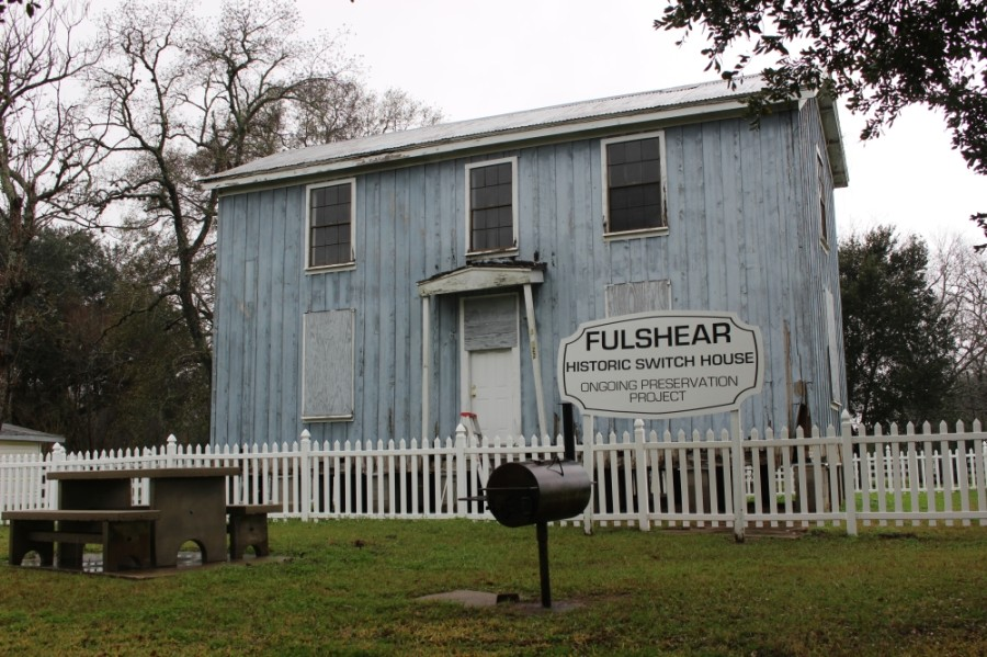 The two-story, five-room Section House—located next door to Encore Arts at 7926 FM 359, Fulshear—is an original building from the Fulshear Railroad Station. (Nola Z. Valente/Community Impact Newspaper)