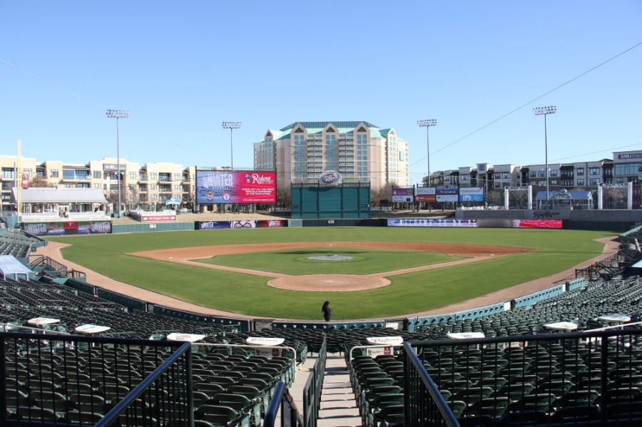 View of baseball field from behind home plate