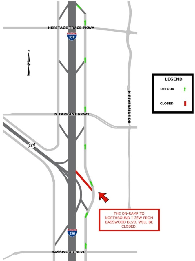 Traffic will be redirected to Heritage Trace Parkway while the Basswood Boulevard on-ramp remains closed through spring 2021. (Courtesy city of Fort Worth)