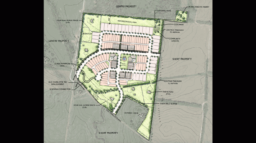The proposed development includes plans for a subdivision of single family detached homes, farmsteads and townhomes across 58.6 acres with 157 total homes. (Courtesy city of Franklin)