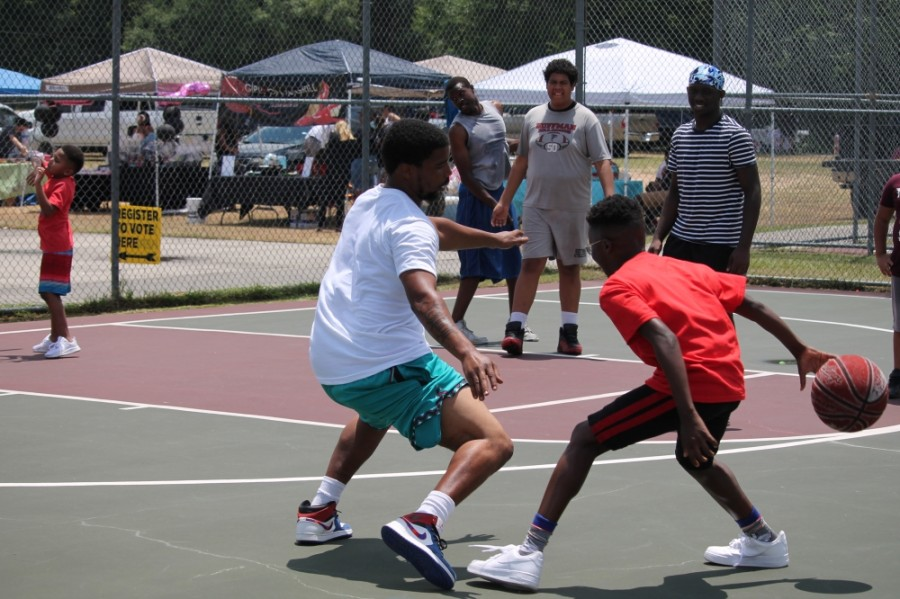 The Juneteenth event in Conroe featured local vendors, voter registration and a basketball tournament. (Andy Li/Community Impact Newspaper)