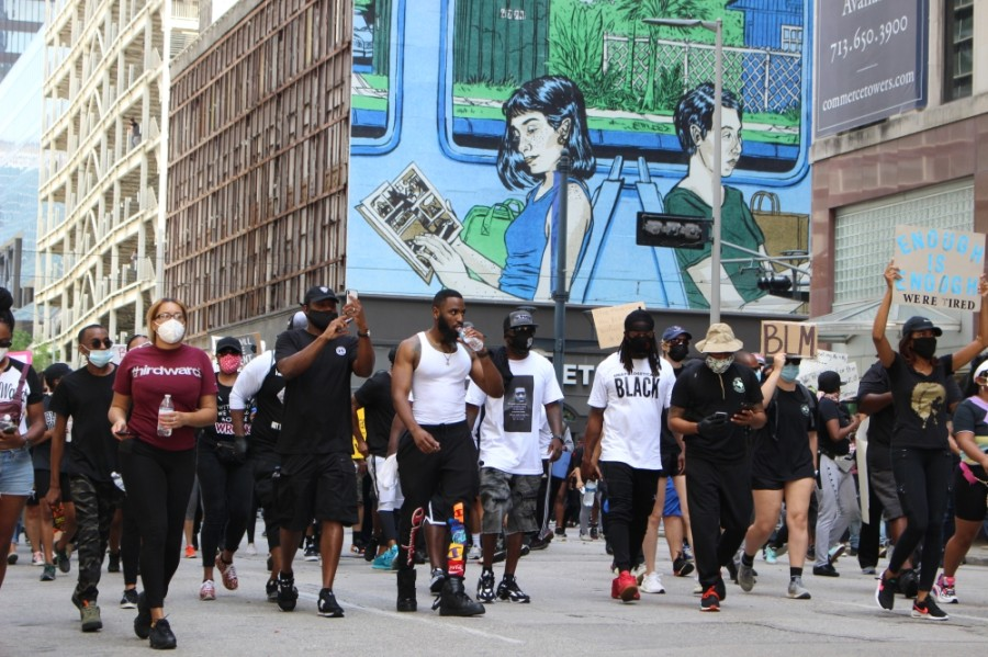 Locals support Black Lives Matter on June 2. (Nola Z. Valente/Community Impact Newspaper)