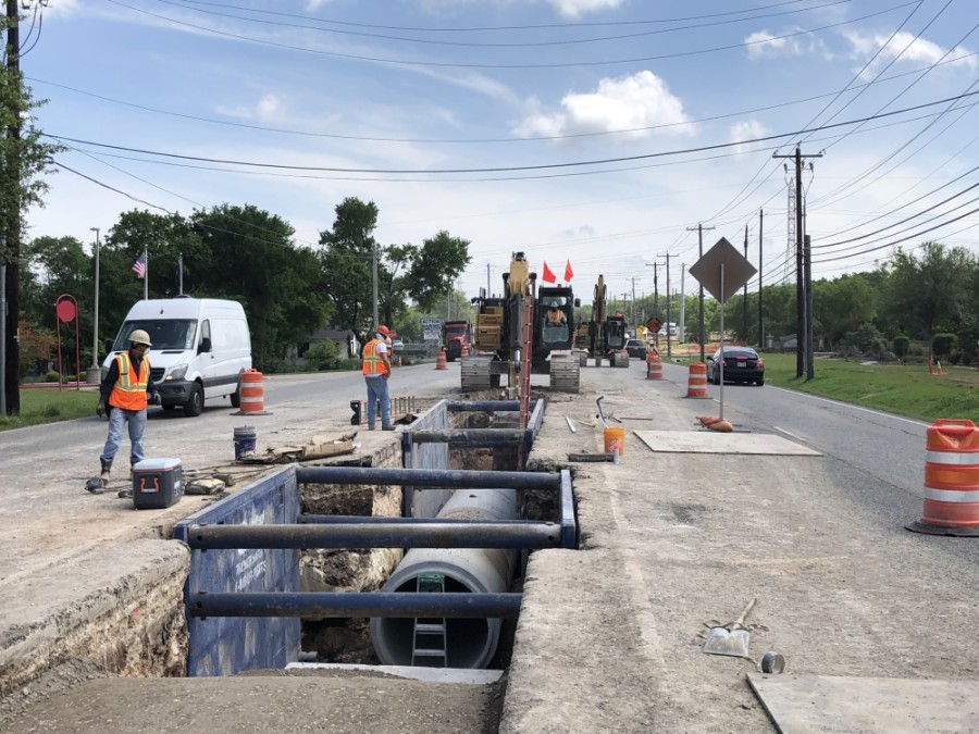 Construction crews install sewer line along RM 2222 in May. (Courtesy Texas Department of Transportation)