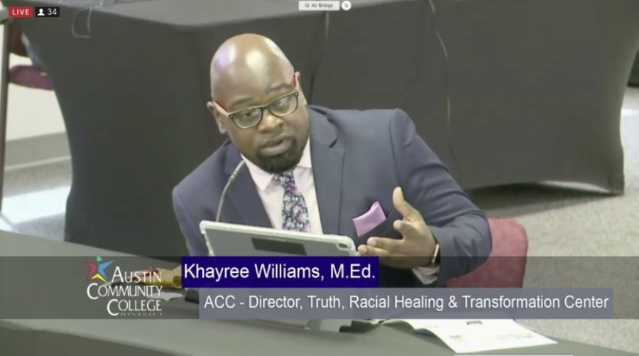 Director Khayree Williams spoke to Austin Community College trustees June 22. (Courtesy Austin Community College)
