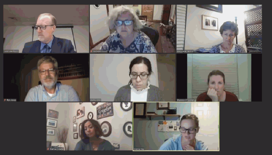 A screen shot of board members attending a virtual meeting