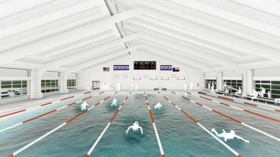 Eanes ISD approved a contract for the operational costs associated with its new aquatics center. (Rendering courtesy Eanes ISD)