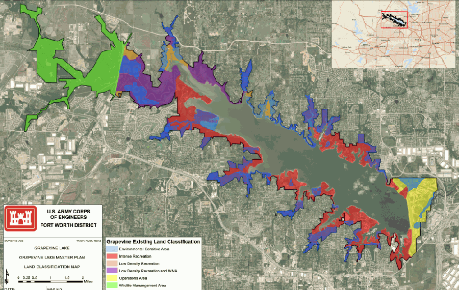 The land-use map that governs activity at Grapevine Lake was adopted in 2001 as a supplement to the area's master plan. That plan is undergoing another revision process. (Courtesy U.S. Army Corps of Engineers)