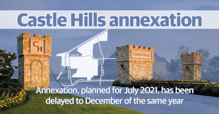 The main reason for the delay is that the city of Lewisville will not be able to receive any property tax revenue from Castle Hills until January 2022, according to information the Denton Central Appraisal District shared with the city.  (Photo courtesy Bright Realty; Tobi Carter/Community Impact Newspaper)