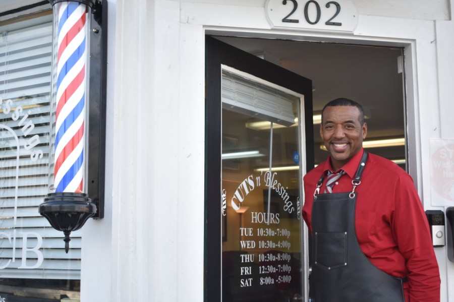 Owner Anthony McLemore opened Cuts N Blessings in 2007. (Alex Hosey/Community Impact Newspaper)